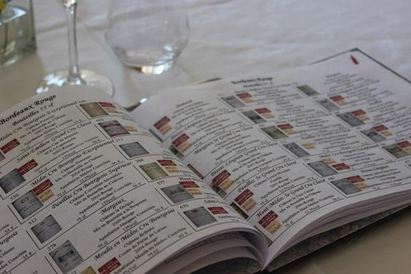 Carte des Vins détaillée